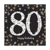 80th Birthday Gold Celebration Lunch Napkins 16pk