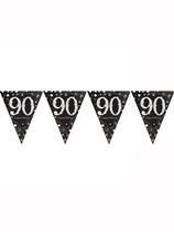 Gold Celebration Happy 90th Birthday Flag Banner