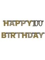 Gold Celebration Happy 100th Birthday Letter Banner