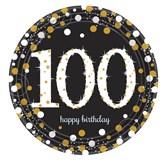 Gold Celebration 100th Birthday Paper Plates 8pk
