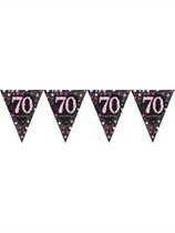 Pink Celebration Happy 70th Birthday Flag Banner