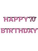 Pink Celebration Happy 70th Birthday Letter Banner