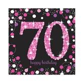 70th Birthday Pink Celebration Lunch Napkins 16pk