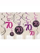 Pink Celebration 70th Birthday Hanging Swirl Decorations 12pk