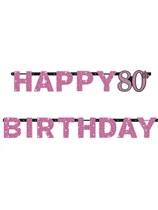 Pink Celebration Happy 80th Birthday Letter Banner