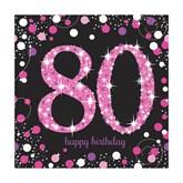 80th Birthday Pink Celebration Lunch Napkins 16pk