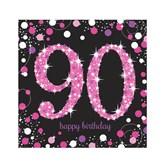 90th Birthday Pink Celebration Lunch Napkins 16pk