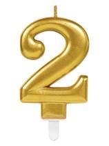 Gold Number 2 Metallic Cake Candle