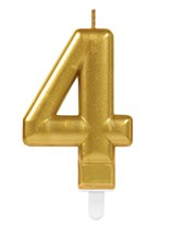 Gold Number 4 Metallic Cake Candle