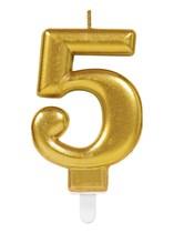 Gold Number 5 Metallic Cake Candle