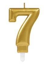Gold Number 7 Metallic Cake Candle
