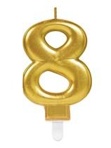 Gold Number 8 Metallic Cake Candle