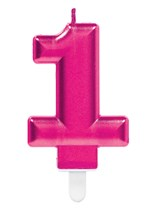 Pink Number 1 Metallic Cake Candle