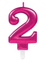 Pink Number 2 Metallic Cake Candle
