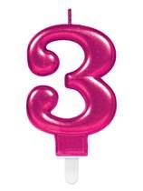 Pink Number 3 Metallic Cake Candle