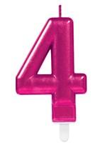 Pink Number 4 Metallic Cake Candle