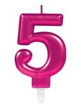 Pink Number 5 Metallic Cake Candle