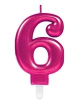 Pink Number 6 Metallic Cake Candle
