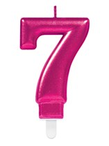 Pink Number 7 Metallic Cake Candle