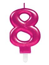 Pink Number 8 Metallic Cake Candle