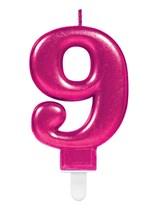Pink Number 9 Metallic Cake Candle