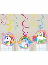 Unicorn Party Hanging Swirl Decorations 6pk