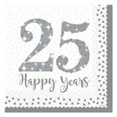 25th Silver Wedding Anniversary Lunch Napkins 16pk