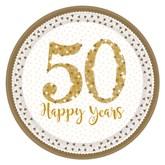 50th Golden Wedding Anniversary Prismatic Plates 8pk