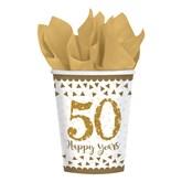 50th Golden Wedding Anniversary Paper Cups 8pk