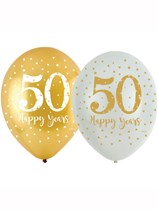 "Sparkling 50th Golden Anniversary 11"" Latex Balloons 6pk"