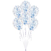 """Blue Confetti 11"""" Latex Balloons Kit 6pk"""
