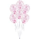 "Pink Confetti 11"" Latex Balloon Kit 6pk"