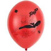"""Spider-Man 4 Sided Print Red 11"""" Latex Balloons 6pk"""