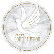 On Your Confirmation Dove 23cm Paper Party Plates 8pk