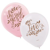"""Engagement 'She Said Yes' Pink & White 11"""" Latex Balloons 6pk"""