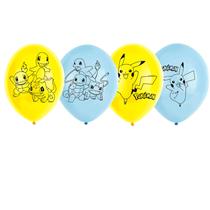 "Pokemon 4-Sided Yellow & Blue 11"" Latex Balloons 6pk"