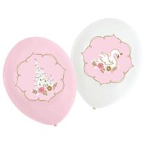 "Swan Princess Pink & White 11"" Latex Balloons 6pk"