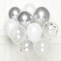 "Silver DIY 11"" Latex Balloons 10pk"