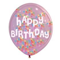 """Happy Birthday Confetti Latex 11"""" Balloons 6pk"""