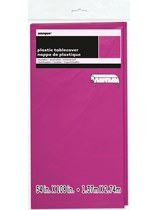 "Neon Pink Rectangular Plastic Tablecover 54""x 108"""