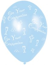 """Blue On Your Communion 11"""" Latex Balloons 25pk"""