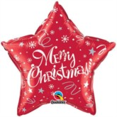 """Merry Christmas Star Shaped 20"""" Foil Balloon - Red"""