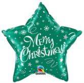 "Merry Christmas Star Shaped 20"" Foil Balloon - Green"