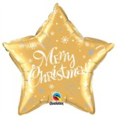 """Merry Christmas Star Shaped 20"""" Foil Balloon - Gold"""
