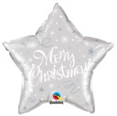 """Merry Christmas Star Shaped 20"""" Foil Balloon - Silver"""