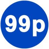 1000 Blue 99p Price Stickers - Single Roll
