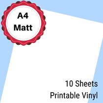 A4 Laser Printable White Matt Vinyl 297mm x 210mm