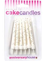 White Glitter Cake Candles 12pk