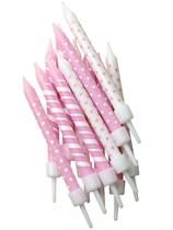 Pink Polka Dots & Candy Stripe Cake Candles 12pk