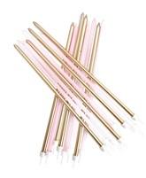 Pastel Pink & Metallic Gold Tall 18cm Candles 16pk
